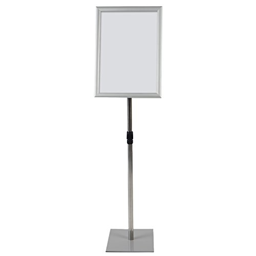 T-SIGN Adjustable Heavy Duty Pedestal Poster Stand, Square Steel Base, 11 x 17 Inch Aluminum Snap Open Frame Vertical and Horizontal Displayed, Silver