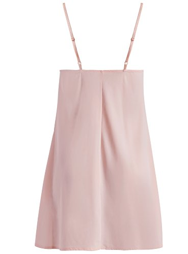 oodji Collection Mujer Camisola de Microfibra con Encaje Rosa (4000N)