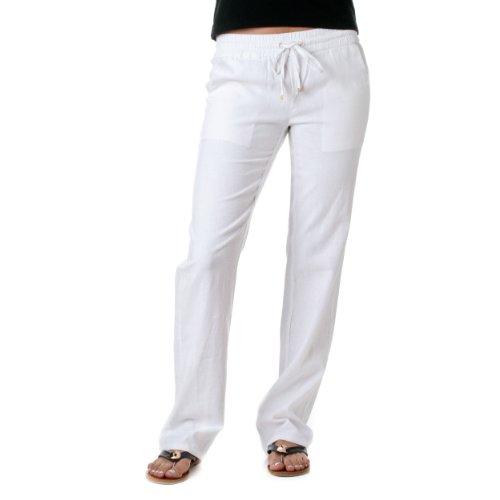 Womens Linen Drawstring - Love Tree Women's Linen Drawstring Pants, White, Large