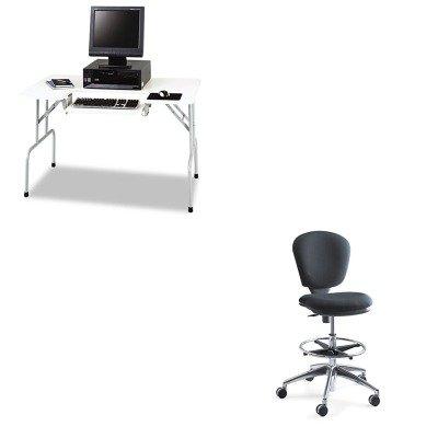 KITSAF1935GRSAF3442BL - Value Kit - Safco Folding Computer Table (SAF1935GR) and Safco Metro Extended Height Swivel/Tilt Chair (SAF3442BL)