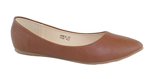 (Bella Marie Angie-52 Women's Classic Pointy Toe Ballet PU Slip On Flats Tan 9)