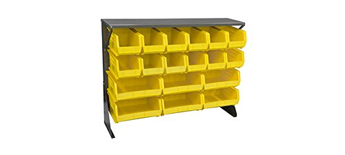(Akro-Mils Akrobin 30650 500 lb Yellow Gray Powder Coated Cold Rolled Steel 16 ga Single Sided Single Sided Louvered Floor Rack - 52 5/8 in Overall Length - 40 in Height - 30650GY250Y [PRICE is per EACH])