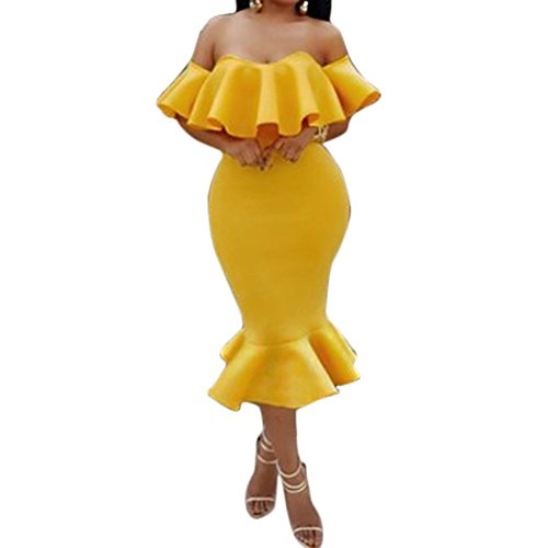 Sleeve Bandage Women's Club Bodycon4U Party Round Dress Ruffle Midi Neck Bodycon Mermaid fnRWBWYTO