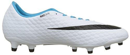 Nike Mens Hypervenom Phelon Iii Fg Tacchette Da Calcio Bianco, Nero, Foto Blu, Cloro Blu