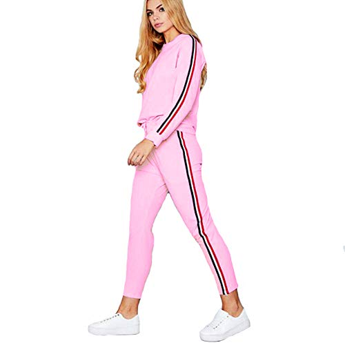 15972a864b Shocknshop Pink Color Red And White Striped Side Tracksuit Tape Tee &  Leggings Pants Set for womens (LEG61)
