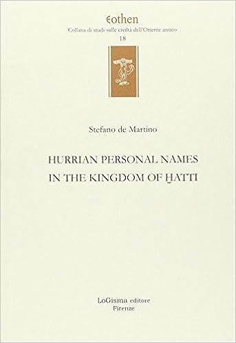 Book Hurrian personals names in the kingdom of Hatti