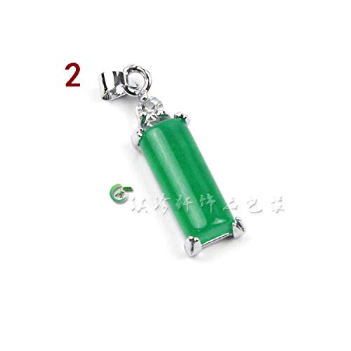 boutique malay jade necklace pendant chain emerald diamond gourd angel fish silver inlay jewelry dolphin women girls Fashion model (2 rectangle (Inlay Rectangle Pendant)