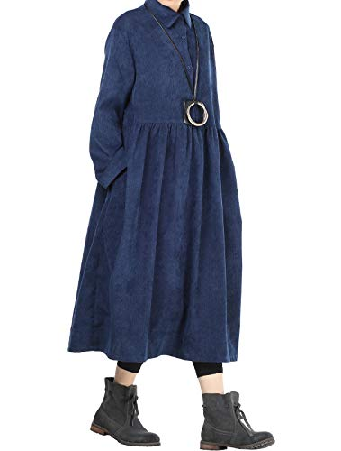 Mordenmiss Women's Corduroy Pleated Dress Button-up Spread Collar Shirt Dress (L Navy) ()