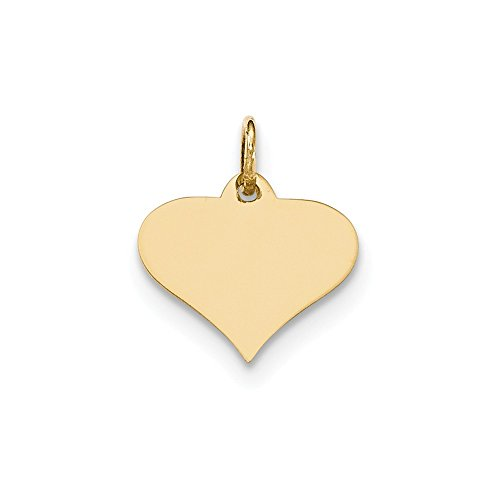 14k Yellow Gold .011 Gauge Engraveable Heart Disc Pendant Charm Necklace Engravable Shapely Love Fine Jewelry Gifts For Women For Her