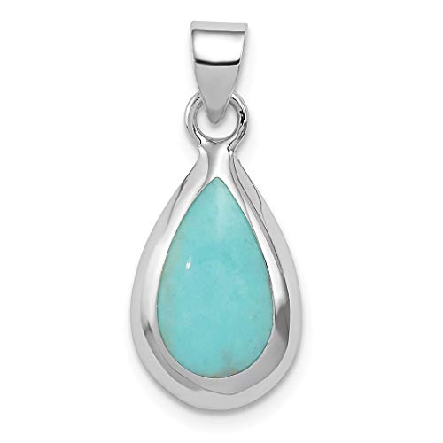 925 Sterling Silver Lab Created Blue Turquoise Teardrop Pendant Charm Necklace Natural Stone Fine Jewelry Gifts For Women For -