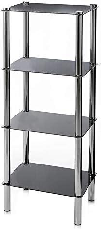 Estantería de 4 baldas Moderna Negra de Cristal para baño Basic - LOLAhome