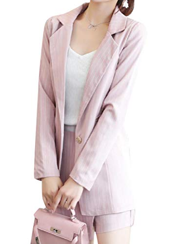 YUNY Women Classic Fit Pinstripe Short Blazer Culottes Shorts Set Pink XS