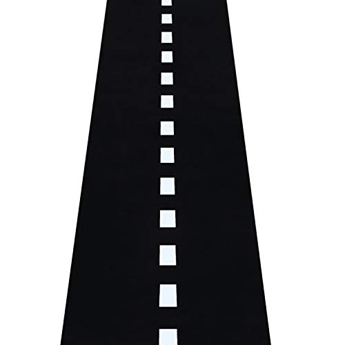 Novelty Place Racetrack Floor Runner - 10 Ft x 2 Ft Black Race Track Running Mat - Sports Race Car Theme Party Entry Table Decorations ()