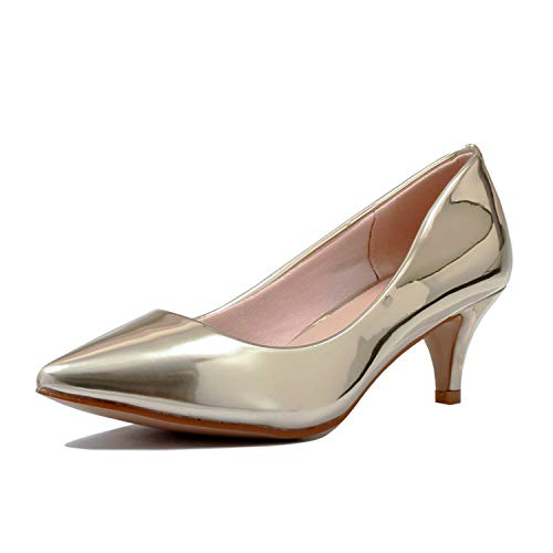 Guilty Heart | Womens Classic Pointy Toe Low Kitten Heel | Office Dress Slip On Fashion Pump | 22 Colors (7 M US, 16-Gold Patent)