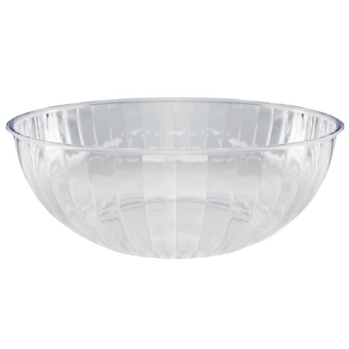 Party Essentials Plastic Serving Bowl, 192-Ounce Capacity, Clear (Case of 6)