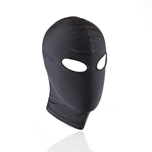 (Black Breathable Full Cover Spandex Zentai Costume Hood Mask(Black Open)