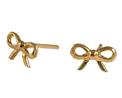 14k Gold Filled Bow - Gold Bow Tie Ribbon Tiny Stud Earrings 14K Gold Filled Women Girl Jewelry