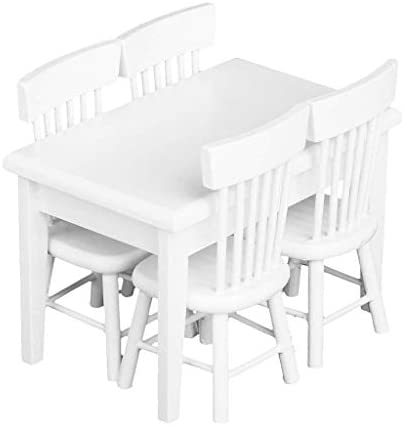 CuteExpress Dollhouse Miniature Dining Table Chair Set 1:12 Wooden Furniture 5Pcs Model Hobby Gift