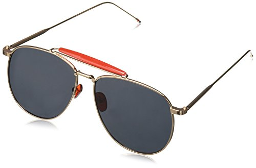 zeroUV Oversize Metal Double Nose Bridge Ultra Slim Temple Flat Lens Aviator Sunglasses, Gold Red / Smoke, 57 - Com Zerouv