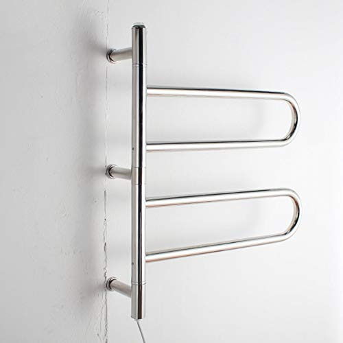 LJHJH Swivel Towel Warmer Rack for Bathroom Hardwired Heated 4 Bars Polish Chrome 304 Stainless Steel ()