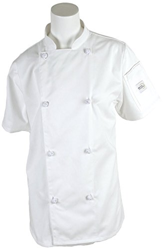 Mercer Culinary M61042WHM Genesis Women's Short Sleeve Chef Jacket with Cloth Knot Buttons, Medium,