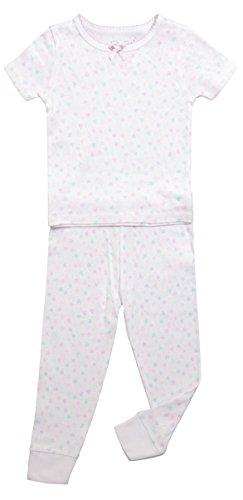Girls Short Sleeve Pajama Top & Pants Bottom Toddler Kid Sleepwear 2PC Set (3T, White & Lavender Fog / Heart) (Purple Sleep Pant)