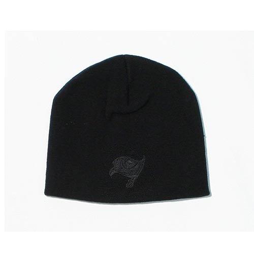 Tampa Bay Buccaneers Black Tonal Skull Cap - NFL Cuffless Beanie Hat ()