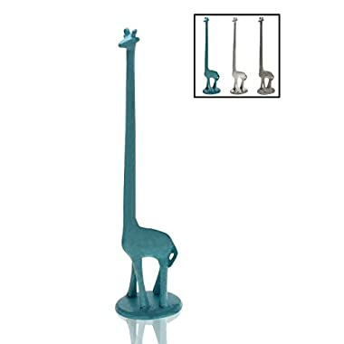 Paper Towel Holder or Free Standing Toilet Paper Holder- Cast Iron Giraffe Paper Holder - Bathroom Toilet Paper Holder or Stand Up Paper Towel Holder - Rustic Blue w/ Vintage Finish by Comfify