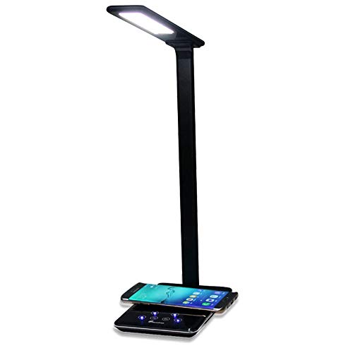 (Nesee LED Desk Lamp, Flexible Desk Lamp with Wireless Charging, Office Desk Lamp White, 4 Lighting Modes with 4 Brightness Levels, 5V/1A USB Charging Port, Touch Control & Memory Function (Black))