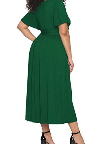 Cut Party Sexy Fashion Green Evening Oversize Solid Out Dress Coolred Women FnP41w6