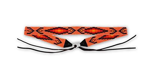 Mayan Arts Cowgirl Western Beaded Hat Band, Leather Ties, Orange Hues, Handmade in Guatemala 7/8