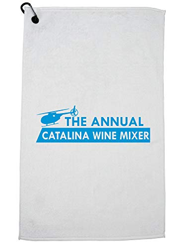 Catalina Cart Bag - Hollywood Thread The Annual Catalina Wine Mixer Funny Helicopter Golf Towel with Carabiner Clip