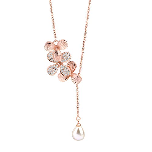 BNQL Rose Gold Orchid Flower Necklace with