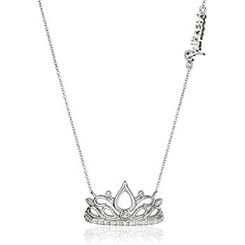 "Sterling Silver Diamond Tiara""Princess"" Pendant Necklace (1/10 cttw, J-K Color, I2-I3 Clarity), 18.5"""