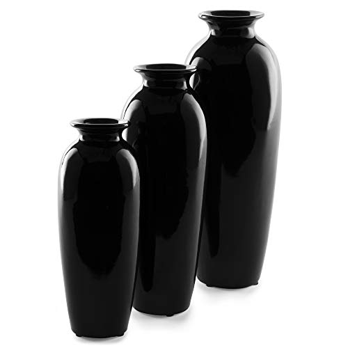 (Best Choice Products Set of 3 Decorative Modern Ceramic Table Vases Home Accents for Flowers, Dining, Side Tables w/Assorted Sizes - Black)