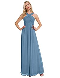 Alicepub Pleated Chiffon Bridesmaid Dresses Formal Party Evening Gown Maxi Dress