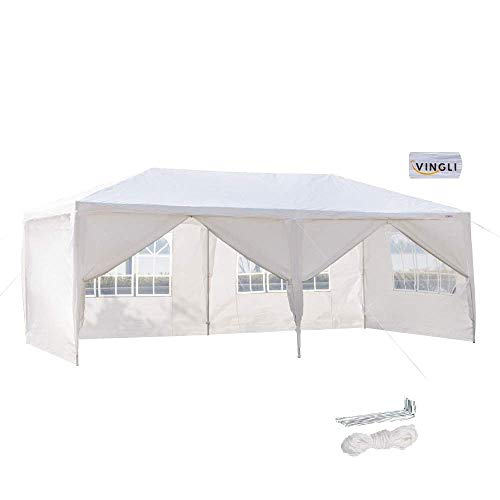 VINGLI 10'x20' Outdoor Canopy Party Tent,with 6 Removable Sidewalls,Sprial Steel Tube,Sunshade Shelter Outdoor Gazebo Pavilion Backyard Wedding Event,White