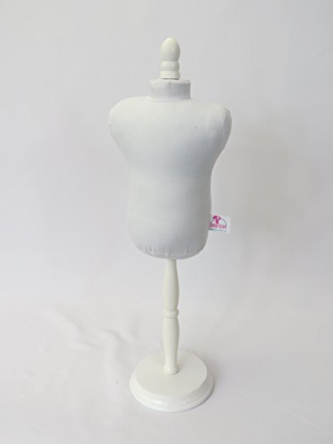 White Doll Dress Form with Wood Base | Sewing Form | Fits American Girl Dolls