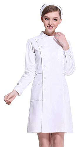 AvaCostume Women's Slanting Button Front Nurse Scrub Lab Dress, WhiteL L