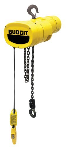 Budgit Hoist Manguard BEHC5032 Electric Chain Hoist, Three Phase, Hook Mount, 1/2 Ton Capacity, 24' Lift, 32 fpm Max Lift Speed, 1 HP, 16-3/4