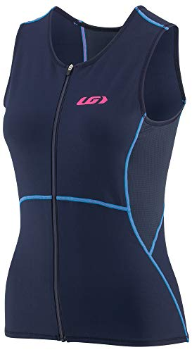Louis Garneau Women's Tri Comp Sleeveless Triathlon Top, Navy/Blue/Pink, Large