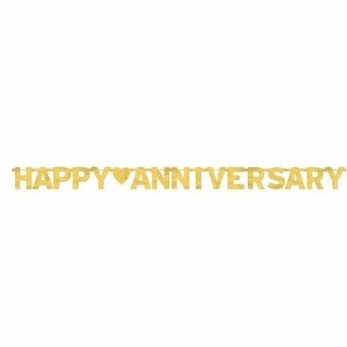 (Amscan Elegant Happy Large Foil Letter Banner, 1 Piece, Made from Foil, Anniversary, 7 3/4 feet x 6 1/4