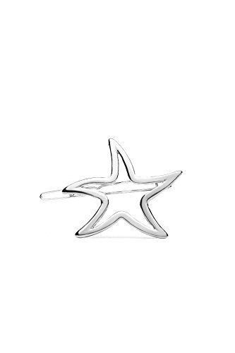 Hair Clip Barrette Star Starfish Matte Finish Metallic Women Girls Accessories (Silver) (Ideas Regalos Para Halloween)