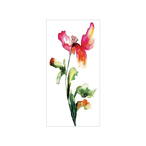 3D Decorative Film Privacy Window Film No Glue,Watercolor Flower,Shaded Single Poppy Flowering Plant Muse in The Nature Earth Divine Grace,Red Green White,for Home&Office