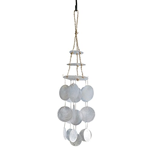 Time Concept Ocean Deco Capiz Wind Chimes – Round – Hanging Shells, Indoor/Outdoor Home Décor For Sale