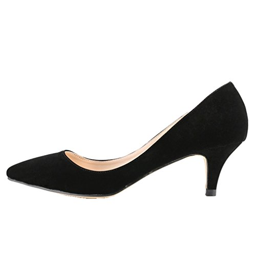 3eeccde3855 high-quality SAMSAY Women s Slender Kitten Heels Pointed Toe Pumps Court  Shoes