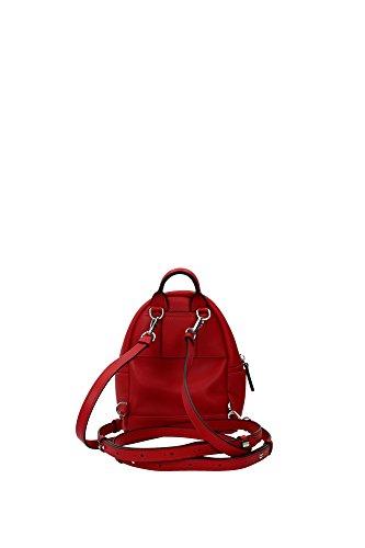 Mochila MCM Mujer Piel Rojo y Plata MWK6SKA14RE001 Rojo 8.5x17x21 cm