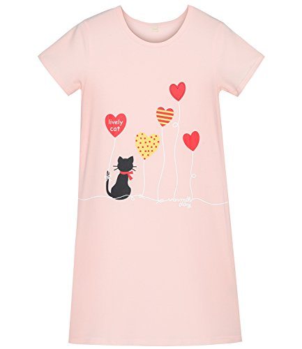 Girls' Cat Nightgowns & Kitten Sleep Shirts Cute Summer Loungewear Pink 7 Years