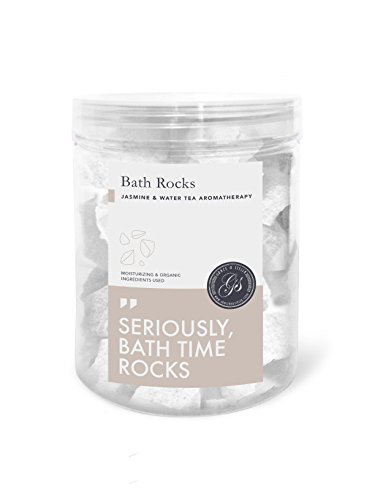 Bath Bomb Rocks (320g, Jasmine) – Highest Quality Ingredients w/ Shea Butter for Moisturizing Dry Skin – Essential Oil Handmade Spa Fizzies – Top Rela…