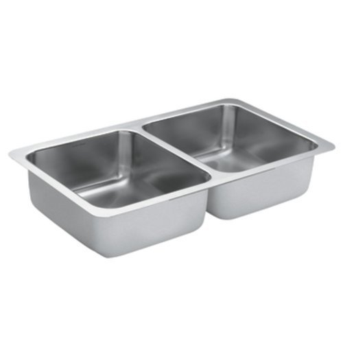Moen G18210 1800 Series 18 Gauge Double Bowl Undermount Sink, Stainless Steel by Moen by Moen
